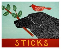 Sticks by Stephen Huneck. This giclee of the original woodcut is printed on Epson Velvet Fine Art paper. Limited edition of Paper size is 13 x Dimensions refer to image size. Black Labrador, Black Labs, Dog Illustration, Dog Art, American Artists, I Love Dogs, In This World, Fine Art Prints, Lino Prints