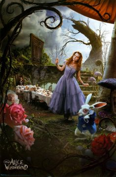 Alice In Wonderland. Use the giant paper flower tutorial. A door. Giant mushrooms. Curly ferns.