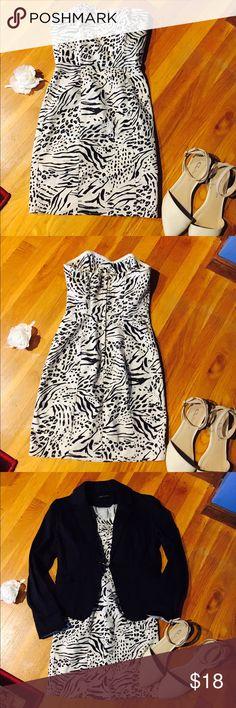 Zebra print, sweetheart neckline, Strapless dress In great condition. 63% cotton 34% polyester 3% elastane H&M Dresses Strapless