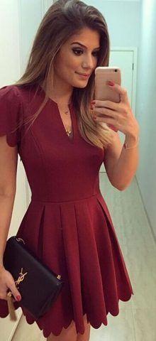 Women Party Short Sleeve Dull Red SKater Dress #california #washington #london…
