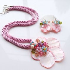 Flower Jewelry Set Kumihimo JewelryJewelry Set by PastelGems