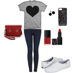 """Very casual valentine's look"" gray and black heart tee, dark skinny jeans, white keds, red handbag, red nail polish and lipstick, black studs, black and red phone case"
