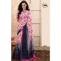 Lovely pink and shaded navy blue color printeed saree with blouse - Online Shopping for Designer Sarees by Saree Swarg