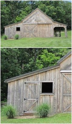This new barn was sided with weathered boards to make it look like it had been on it& site forever. It is a combination workshop, garage an. Pole Barn House Plans, Barn Garage, Pole Barn Homes, Small Barns, Old Barns, Country Barns, Eco Deco, Backyard Barn, Backyard Storage