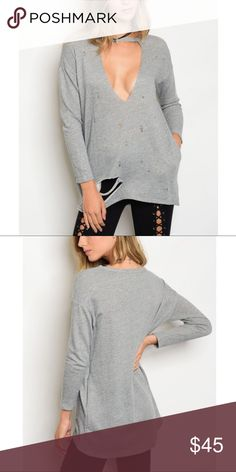 🆕NARNY distressed top - H. GREY Super sexy cut out front. Distressing is so on trend at the moment. 48% rayon, 48% polyester, 4% spandex. 🚨PRICE FIRM🚨 Bellanblue Tops