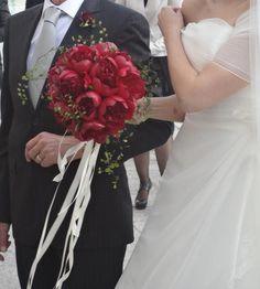 Bouquet da sposa peonie bordeaux... Wedding Bouquet Red Peony