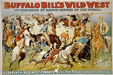 Buffalo Bill's wild west and congress of rough riders of the world - Circus poster showing cowboys rounding up cattle, c. 1899