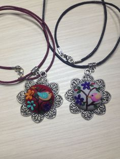 Cabochon Nacklace, Birdy style, Flowers, Polymer Clay di AllecramArt su Etsy