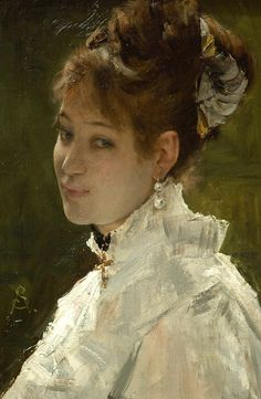 Portrait of a Young Woman Date late century Artist: Alfred Stevens, Belgian, Chrysler Museum Alfred Stevens, Chrysler Museum, 24. August, European Paintings, Best Portraits, Old Master, Female Art, David, Lady