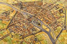 France - Paris in the century AD Cluny France, Reims France, Paris France, Fantasy Castle, Fantasy Map, Fantasy Places, Old Maps, Antique Maps, Historical Architecture
