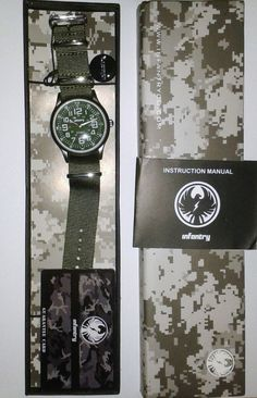 INFANTRY MILITARY WATCH NEW WITH TAGS DATE GREEN DIAL