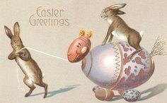 vintage postcard with wacky egg-mobile