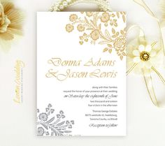 Floral Wedding Invitation   Gold and gray elegant rose wedding invite printed on luxury white pearlescent paper