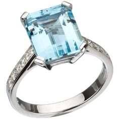 Other 18ct White Gold, Aquamarine & Diamond Ring ($2,945) ❤ liked on Polyvore