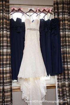 White v neck lace wedding dress with embellished belt and navy bridesmaid dresses - Houston wedding photography - MD Turner Photography