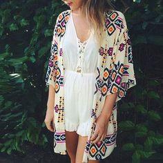 Women's Sheer Chiffon Blouse Loose Tops Kimono Floral Print Cardigan Swimwear
