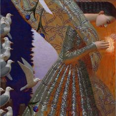 """Andrey Remnev - """"Dune"""" (3rd painting of triptych). --Painted using hand-made colors and use natural pigments ground with the egg yolk, on canvas."""