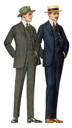 Men's Fashion in 1908-1918 had a slight change from beginning to end. It went from natural shoulders with slight waist definition to a raised waist and high definition with defined shoulders. (Allison T.)