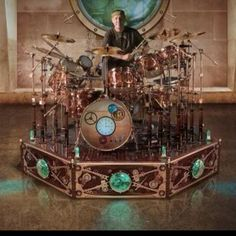 Neal Peart of RUSH; check out his Steampunk drum set!