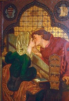 King René's Honeymoon Cabinet - Panel showing Rossetti's design for Music (lovers kissing over an organ). Other panels were designed by William Morris and Ford Madox Brown. Dante Gabriel Rossetti, John Everett Millais, William Morris, Lovers Kiss, Music Lovers, Pre Raphaelite Paintings, Pre Raphaelite Brotherhood, Arts And Crafts Movement, Victoria And Albert Museum