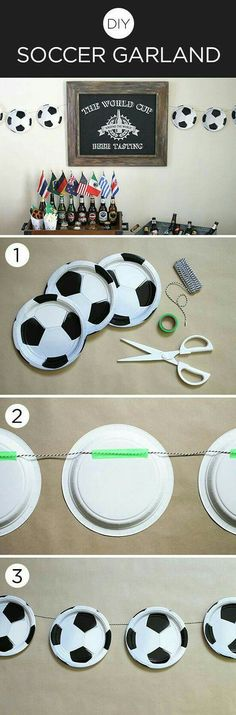 DIY soccer ball garland for a birthday party with kick! Soccer Birthday Parties, Sports Theme Birthday, Soccer Party, Sports Party, Birthday Party Themes, Soccer Ball, Soccer Banquet, Baseball Birthday, Soccer Cleats