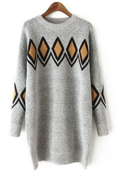 Argyle Jacquard Round Collar Sweater