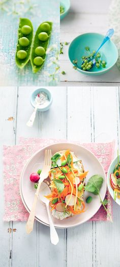 Tartine with spring vegetables, smoked salmon and basil oil recipe