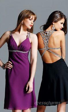 A-Line Chiffon V-neck Short Dress