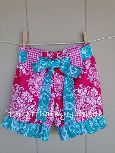Whimsical pink and teal girls ruffle by ThisNThatByNicolette