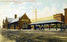 Chicago, St. Paul, Minneapolis & Omaha (better known as the Omaha Road) depot at Duluth, Minnesota. The CMO built a passenger station at 200 Fifth Ave W and a freight depot at 232 Fifth Ave W.  Another CMO depot stood at the foot of Eighth Ave W. It's unclear where this station was. The C&NW leased the Omaha Road in 1957; in 1972 it completely absorbed the CMO. The depots built by CMO were also used by the Duluth, Winnipeg & Pacific Railway.