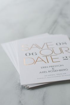 Mixed Message - Foil Save the Date Card. A mix of modern digital printing and brilliant foil stamping presents your wedding details in a uniquely beautiful format on these one-of-a-kind save the dates. Foil save the date cards. Typography save the date cards. Unique and elegant save the date cards. Save our date cards.