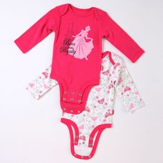 "Disney Cuddly Bodysuit™ with Grow-An-Inch-Snaps™ CINDERELLA ""Born into Royalty"" 2-Pack featuring Disney Princess"