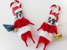 Set of two vintage style chenille bump ornaments.two different Boston Terriers in red chenille Santa suits with Dog Ornaments, Diy Christmas Ornaments, Vintage Christmas, Christmas Decorations, Christmas Presents, Christmas Ideas, Christmas Candy, Merry Christmas, Black And Tan Dachshund