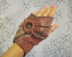 Crochet Infinity Fingerless Gloves Manicure Mittens Texting Wristwarmers Shabby Chic Mauve Winter Pink Taupe Medium READY TO SHIP