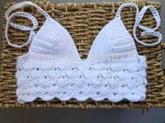 ladie's  summer sexy fashion white hand crochet  Bikini bra top casual wear  swimwear  crochet  beachwear bra  crochet bralette