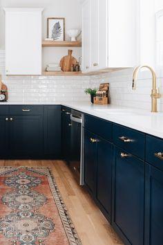 Dark Blue Kitchen Cabinets, Light Blue Kitchens, White Wood Kitchens, Kitchen Backsplash White Cabinets, Wood Floor Kitchen, Kitchen Redo, Kitchen Remodel, Kitchen Design, Kitchen Colors