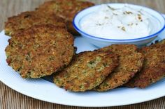 Recipe for Baked Falafel Patties with Yogurt-Tahini Sauce [#SouthBeachDiet friendly #Recipe from Kalyns Kitchen; visit the blog to see step-by-step photos of this dish.]