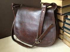 Vtg Rustic Chestnut Brown Leather Crossbody by JansVintageStuff