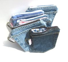 Denim Pockets Wallet with zipper for iPhone. MADE TO ORDER for Men and Women. homesteading eco-friendly upcycled repurposed. $15.00, via Etsy.
