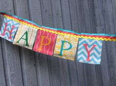 Fabric Birthday Banner vintage style multi colored by BooBahBlue