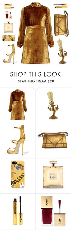 """Golden Goddess"" by annelaurousen ❤ liked on Polyvore featuring A.L.C., Disney, Giuseppe Zanotti, Moschino and Nasty Gal"