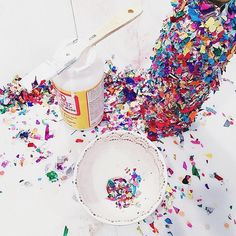 Love this photo by @grahamandco using our confetti to make confetti covered champagne glasses! What a creative world! www.thimblepress.com