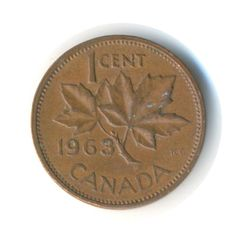 Vintage Coin Canada One Cent 1963 Code:RSC2160 by JMCVintagecards