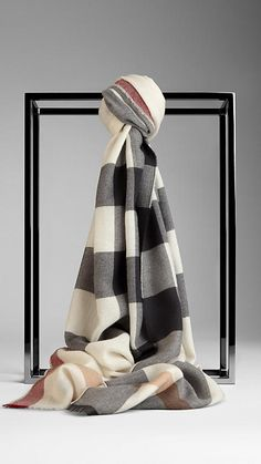 Burberry Ivory  Check Cashmere Scarf - Lightweight cashmere scarf in check.  Fringing at the edges.  Discover the scarves collection at Burberry.com