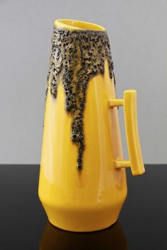 Rare Fohr Keramik West German pottery vase jug with volcanic black 'Fat Lava' glaze