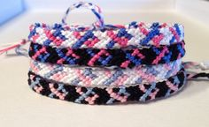Miscarriage and Infant Loss Awareness Friendship Bracelet - October 15 - Pink & Blue Ribbons on Black or White