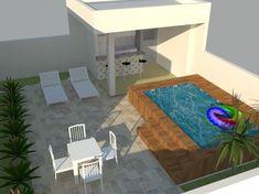 área-de-lazer-churrasqueira-piscina Rooftop Design, Rooftop Terrace, Pond Tubs, Garden Design, House Design, Small Pools, Garden Pool, Outdoor Seating, My House