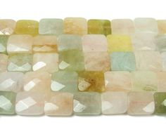 Pink morganite multi faceted rectangle beads (8.5x10mm)