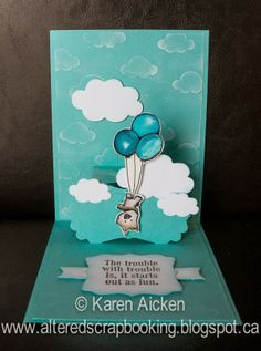 Karen Aicken using the Pop it Ups Lucy Label die, plus decorator pieces from the Fancy Accordion, All Seasons Tree and Lots of Pops dies by Karen Burniston for Elizabeth Craft Designs - Altered Scrapbooking: Trouble is ...