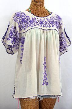 """""""Lijera Libre"""" Plus Size Embroidered Blouse -Off White + Purple"""